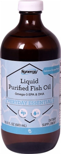Vitacost Synergy Orange Flavored Liquid Purified Fish Oil Omega-3 EPA & DHA Perspective: front