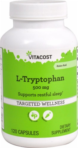 Vitacost L-Tryptophan Targeted Wellness Capsules 500mg Perspective: front