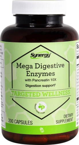 Vitacost  Synergy Mega Digestive Enzymes with Pancreatin 10X Perspective: front