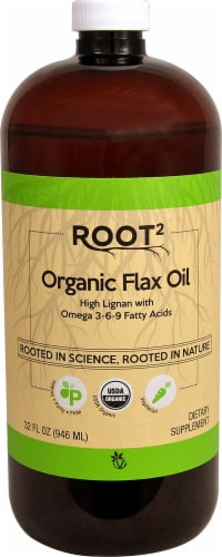 Vitacost  ROOT2 Organic Certified Flax Oil Perspective: front