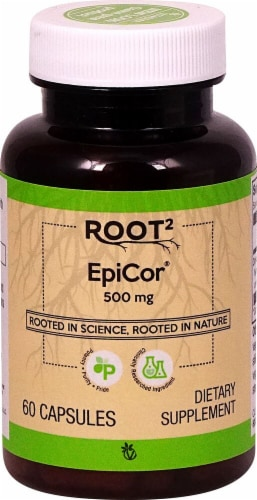 Vitacost ROOT2 EpiCor 500mg Capsules Perspective: front