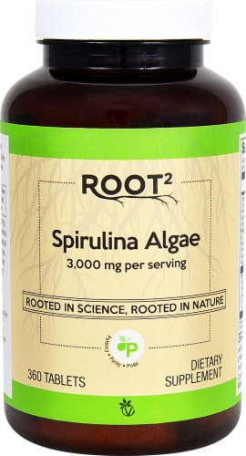 Vitacost Root2 Spirulina Tablets 3000mg Perspective: front