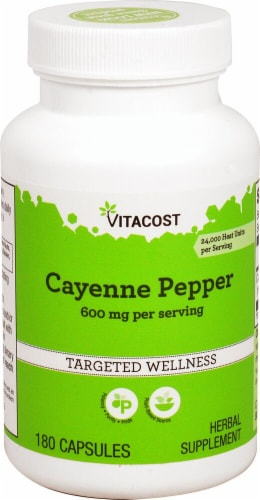 Vitacost Cayenne Pepper Capsules 600mg Perspective: front