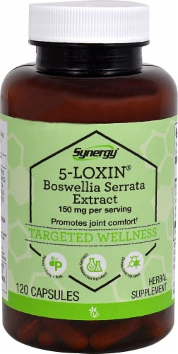 Vitacost Synergy 5-Loxin-AKBA Boswellia Extract Herbal Supplement Capsules 150mg Perspective: front