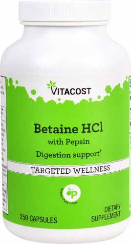 Vitacost Betaine HCl with Pepsin Targeted Wellness Capsules Perspective: front