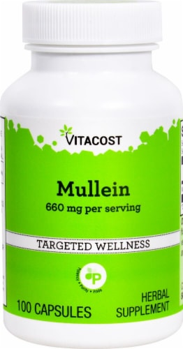 Vitacost Mullein Herbal Supplement Capsules 660mg Perspective: front