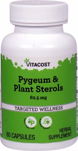 Vitacost Pygeum & Plant Sterols Capsules 62.5mg Perspective: front