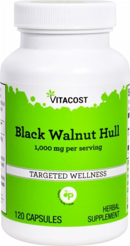Vitacost Black Walnut Hull Herbal Supplement Capsules 1000mg Perspective: front