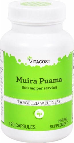 Vitacost Muira Puama Herbal Supplement Capsules 600mg Perspective: front