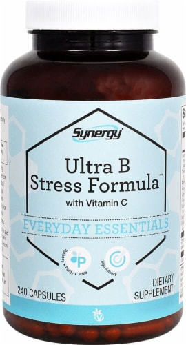 Vitacost Synergy Ultra B Stress Formula with Vitamin C Perspective: front