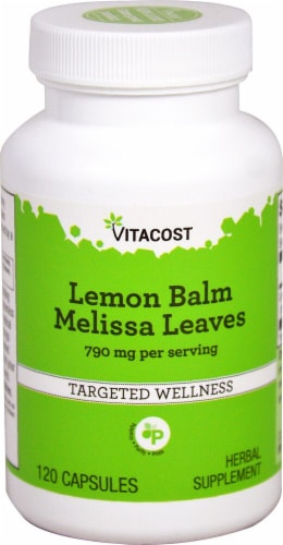 Vitacost Lemon Balm Melissa Leaves Herbal Supplement Capsules 790mg Perspective: front