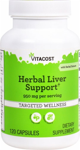 Vitacost Herbal Liver Support Dietary Supplement Capsules 950mg Perspective: front