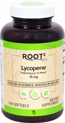 Vitacost ROOT2 Lycopene Softgels 15mg Perspective: front