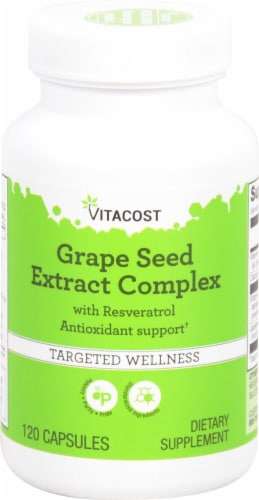 Vitacost Grape Seed Extract Complex with Resveratrol Capsules Perspective: front