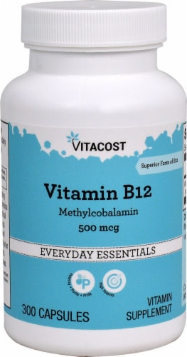 Vitacost Vitamin B-12 Everyday Essentials Capsules Perspective: front