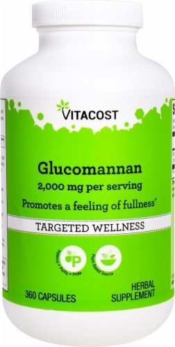 Vitacost Glucomannan Herbal Supplement Capsules 2000mg Perspective: front