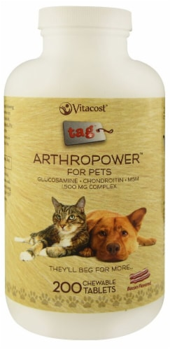 Vitacost - Tag ArthroPower For Pets Bacon Flavored Chewable Tablets Perspective: front