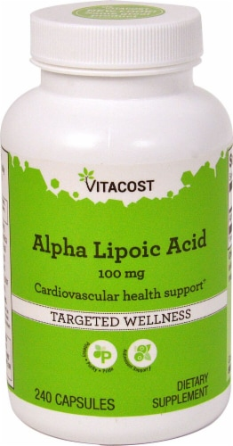 Vitacost Alpha Lipoic Acid Capsules 100mg Perspective: front
