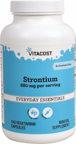 Vitacost Strontium Mineral Supplement Vegetarian Capsules 680mg Perspective: front