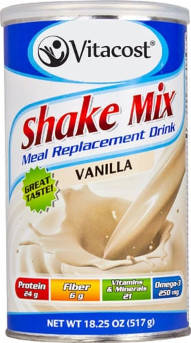 Vitacost  Shake Mix Meal Replacement Drink   Vanilla Perspective: front