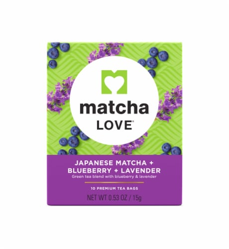 Matcha Love Japanese Matcha Blueberry Lavender Tea Bags Perspective: front
