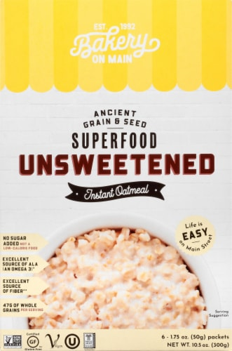 Bakery on Main Unsweetened Gluten Free Instant Oatmeal Packets 6 Count Perspective: front