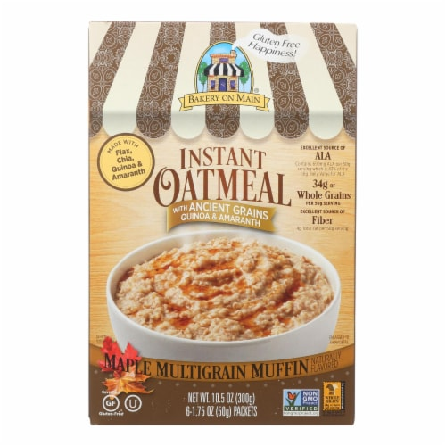 Bakery On Main Instant Oatmeal - Maple Flavor - Case of 6 - 10.5 oz. Perspective: front