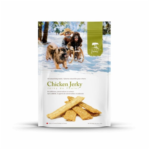 Caledon Farms Chicken Jerky Dog Treats Perspective: front