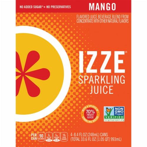 Izze Mango Flavored Sparkling Juice Beverage Perspective: front