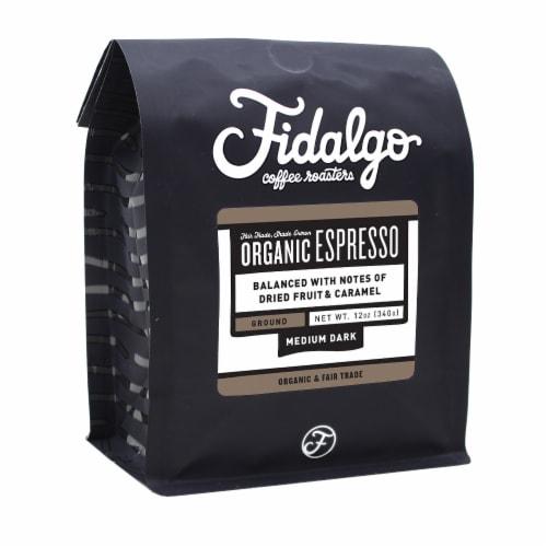 Organic Espresso, Drip Grind, 12oz bag Perspective: front
