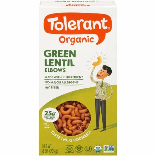 Tolerant Food Organic Green Lentil Pasta Simply Legumes™ Gluten Free Elbow Macaroni Perspective: front