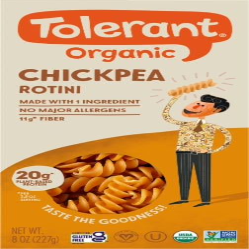 Tolerant Balanced Blend Organic Chickpea Rotini Pasta Perspective: front