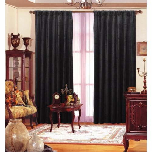 Black Velvet Drape 55 x 84  Each Panel Perspective: front