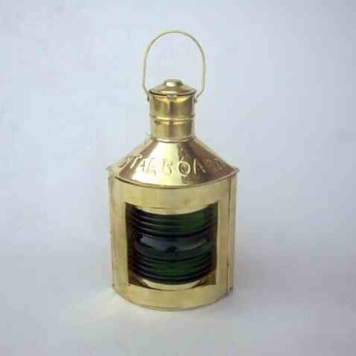 Brass Nautical Ship Lamp 12  With Green Starboard Perspective: front