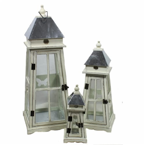 Saltoro Sherpi Unique and Timeless 3pc Wooden Lantern by Entrada by Entrada Perspective: front