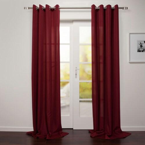 "Tropea Textured Linen Look With Stripe Window Curtain Panel Merlot 54""x95"" Perspective: front"