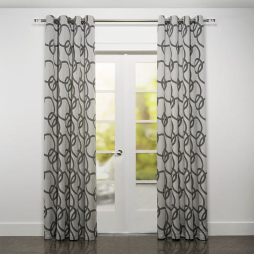 """Riva Jacquard Circle Design Window Curtain Panel Black and White 54""""x95"""" Perspective: front"""