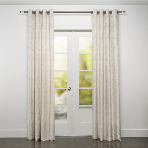 """Riva Jacquard Circle Design Window Curtain Panel Natural 54""""x95"""" Perspective: front"""