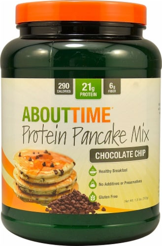 About Time  Protein Pancake Mix   Chocolate Chip Perspective: front