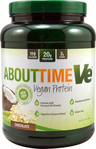 About Time  Vegan Protein   Chocolate Perspective: front