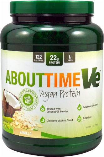 About Time  Vegan Protein   Natural Vanilla Perspective: front