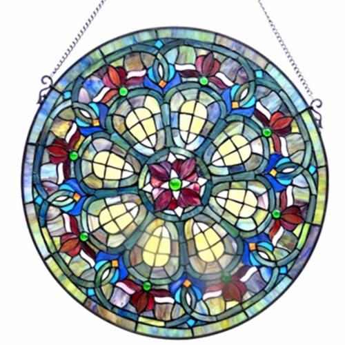 CH1P460RV24-GPN CHLOE Lighting Tiffany-glass Baroque Window Panel 24 Perspective: front