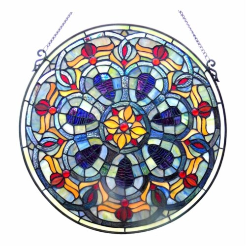 CH1P688PV20-GPN CHLOE Lighting Tiffany-glass Victorian Window Panel 20 Perspective: front