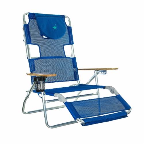 Ostrich 3 N 1 Lightweight Aluminum Frame 5 Position Reclining Beach Chair, Blue Perspective: front