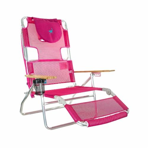 Ostrich 3 N 1 Lightweight Aluminum Frame 5 Position Reclining Beach Chair, Pink Perspective: front