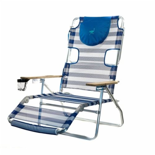 Ostrich 3 N 1 Lightweight Aluminum 5 Position Reclining Beach Chair, Striped Perspective: front