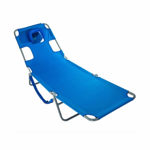 Ostrich Chaise Lounge Folding Portable Sunbathing Poolside Beach Chair, Blue Perspective: front