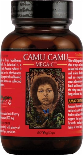 Amazon Therapeutic Labs Camu Camu Mega C Vegetarian Capsules 500mg Perspective: front
