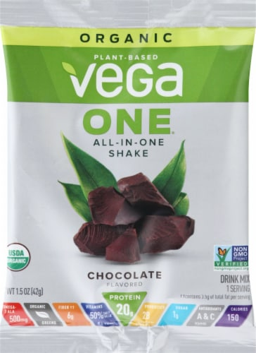 Vega One Chocolate Flavored All-in-One Shake Perspective: front