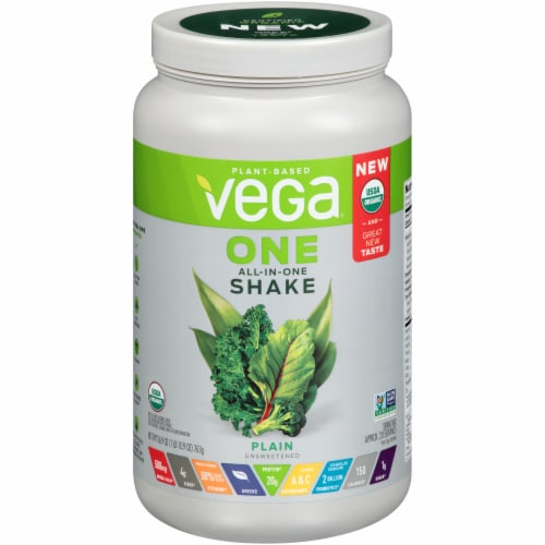 Vega One Plain Plant-Based All-In-One Shake Drink Mix Perspective: front